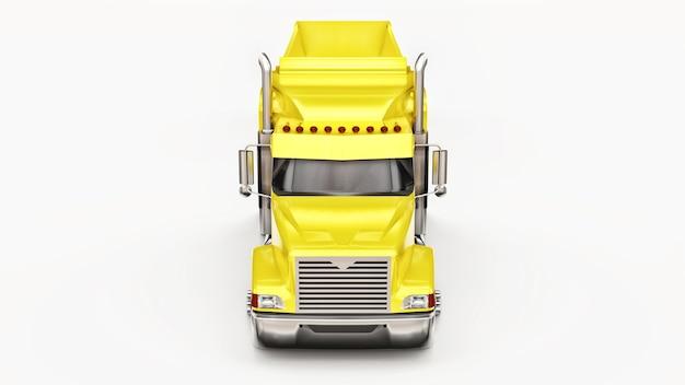 Grand camion américain jaune avec un camion à benne basculante de type remorque pour le transport de marchandises en vrac sur fond blanc. illustration 3d.