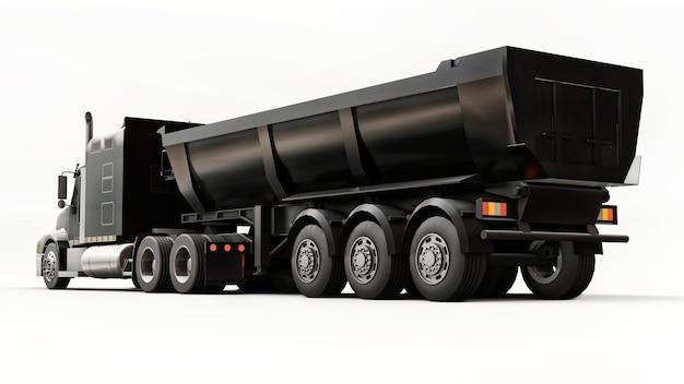 Grand camion américain noir avec un camion à benne basculante de type remorque pour le transport de marchandises en vrac sur fond blanc. illustration 3d.