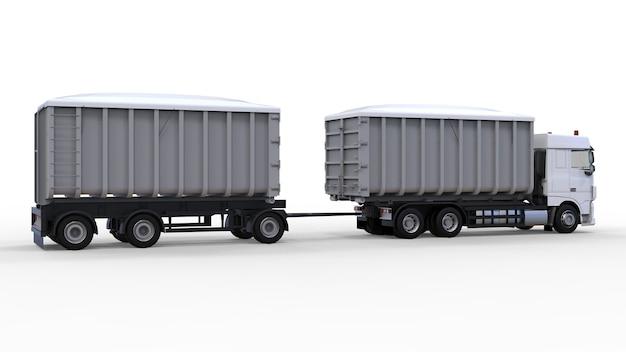 Grand camion blanc avec remorque séparée, pour le transport de matériaux et produits en vrac agricoles et de construction. rendu 3d.