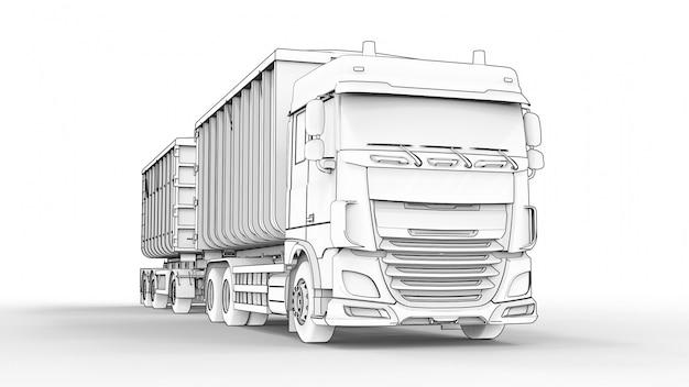 Grand camion blanc avec remorque séparée, pour le transport de matériaux et de produits en vrac agricoles et de construction