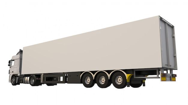 Grand camion blanc avec semi-remorque. modèle pour placer des graphiques. rendu 3d.