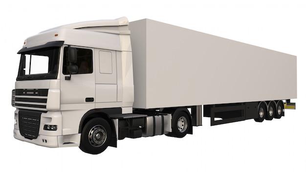 Grand camion blanc avec une semi-remorque