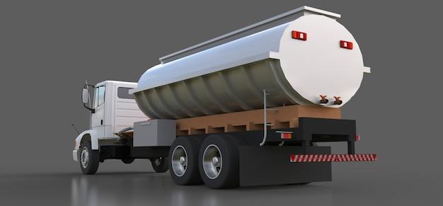 Grand camion-citerne blanc avec une remorque en métal poli. vues de tous les côtés. illustration 3d.