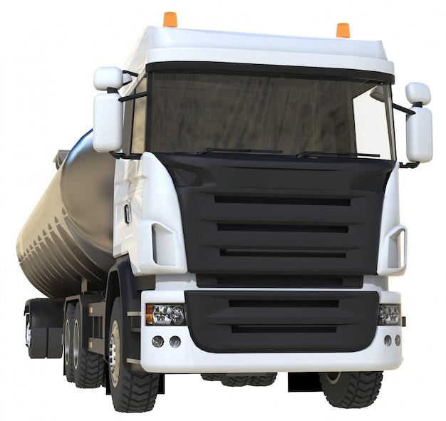 Grand camion-citerne blanc avec une remorque en métal poli. vues de tous les côtés