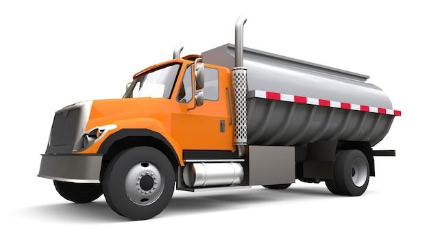 Grand camion-citerne orange avec une remorque en métal poli. vues de tous les côtés. illustration 3d.