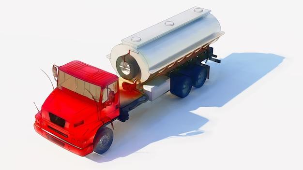 Grand camion-citerne rouge avec une remorque en métal poli. vues de tous les côtés. illustration 3d.