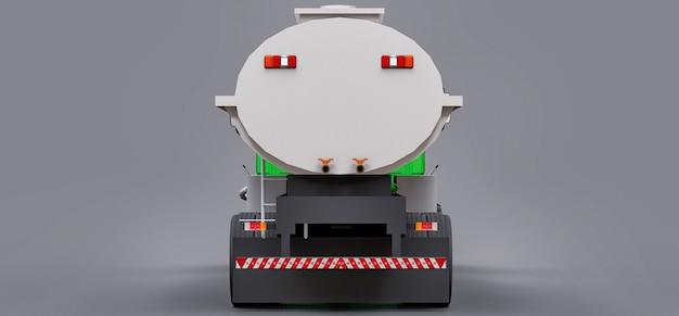 Grand camion-citerne vert avec une remorque en métal poli. vues de tous les côtés. illustration 3d.