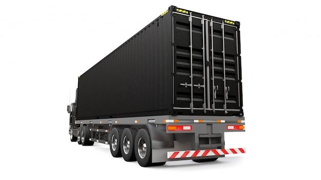 Un grand camion noir rétro avec une partie couchage et une extension aérodynamique transporte une remorque avec un conteneur maritime. rendu 3d.