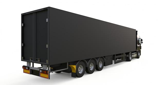 Grand camion noir avec semi-remorque