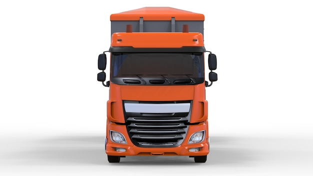 Grand camion orange avec remorque séparée, pour le transport de matériaux et produits en vrac agricoles et de construction. rendu 3d.