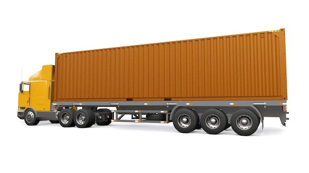 Un grand camion orange rétro avec une partie couchage et une extension aérodynamique transporte une remorque avec un conteneur maritime. rendu 3d.