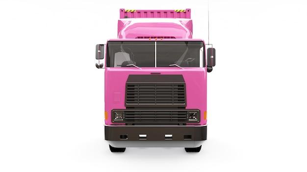 Un grand camion rose rétro avec une partie couchage et une extension aérodynamique transporte une remorque avec un conteneur maritime. rendu 3d.