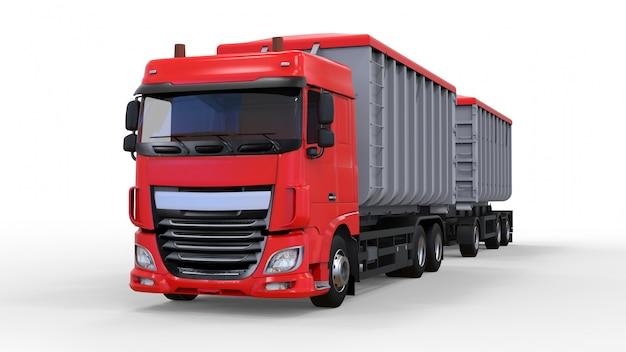 Grand camion rouge avec remorque séparée, pour le transport de matériaux et de produits agricoles et de construction en vrac