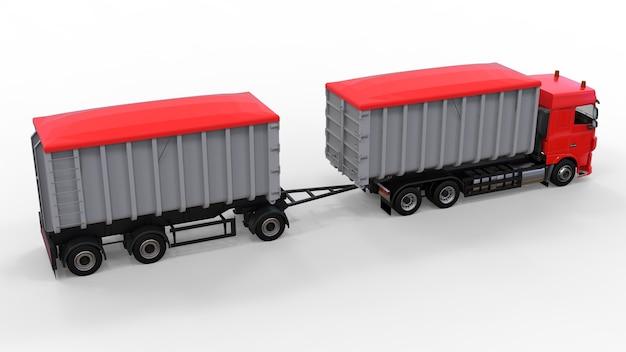 Grand camion rouge avec remorque séparée, pour le transport de matériaux et produits en vrac agricoles et de construction. rendu 3d.