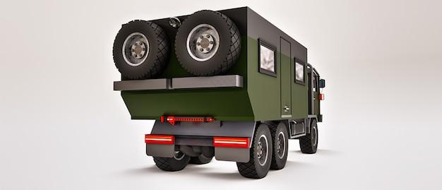 Grand camion vert préparé pour des expéditions longues et difficiles dans des régions éloignées. camion avec une maison sur roues. illustration 3d.