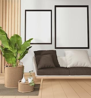 Grand canapé dans une chambre de style tropical et décoration de plantes sur plancher en bois rendu 3d