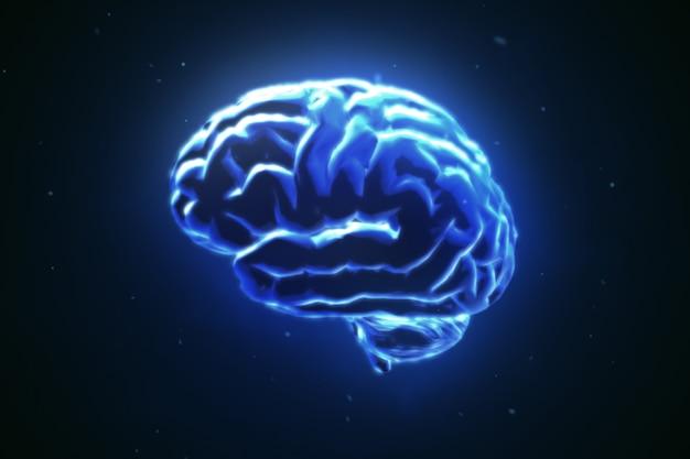 Grand cerveau fort pulsant en bleu