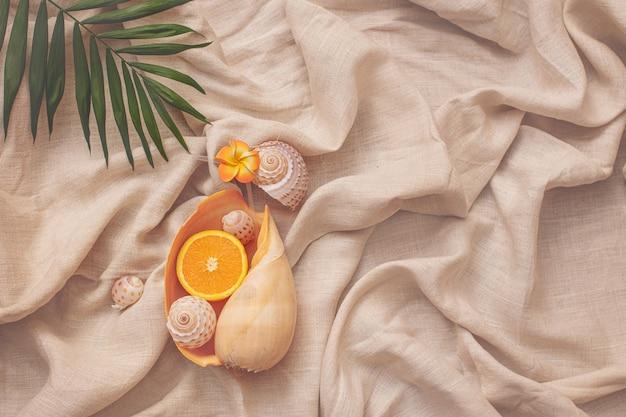 Grand coquillage en forme de verre à cocktail avec une orange à l'intérieur et un fond d'été en feuille de palmier