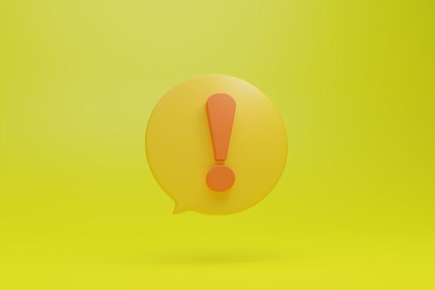 Grand grand symbole de signe de point d'exclamation jaune dans l'icône d'illustration de boîte de dialogue ronde de style 3d