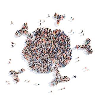 Grand groupe de personnes sous la forme du système immunitaire fond blanc isolé