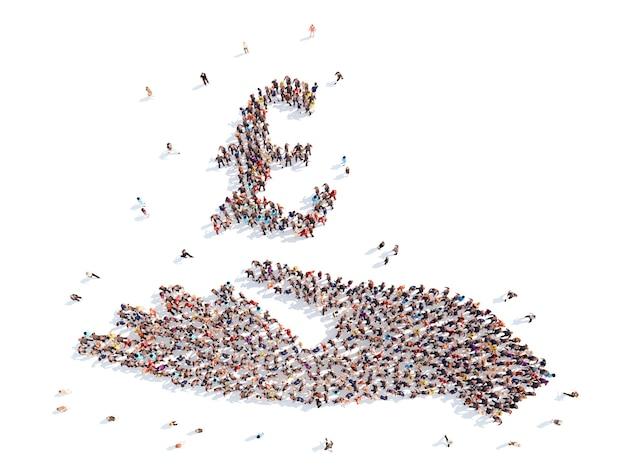 Un grand groupe de personnes sous la forme d'une main avec signe d'argent