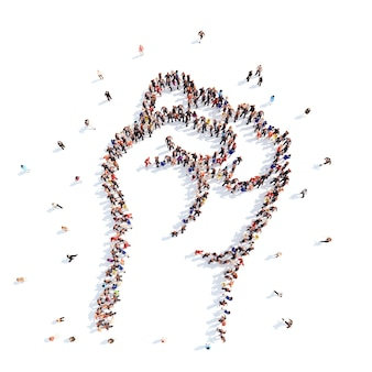Un grand groupe de personnes sous la forme d'une main