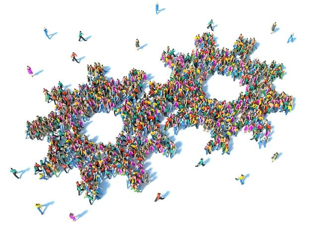 Grand groupe de personnes vu de dessus réunis sous la forme d'une icône d'engrenage