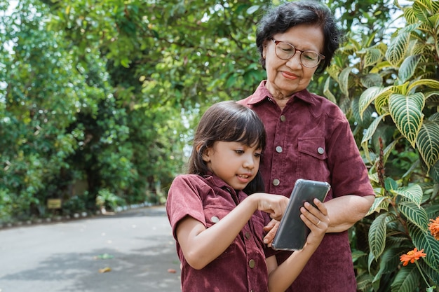 Grand-mère asiatique et petit-enfant marchant ensemble dans le parc