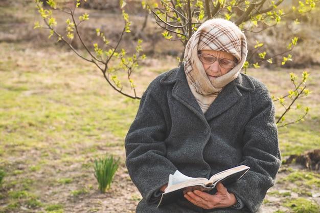 Grand-mère lit la sainte bible. penser à dieu