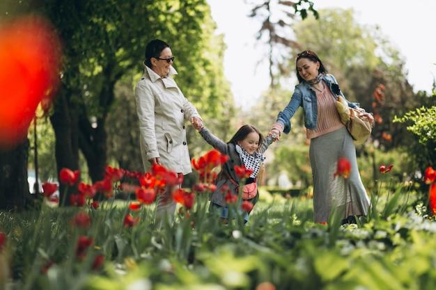 Grand-mère mère fille dans le parc