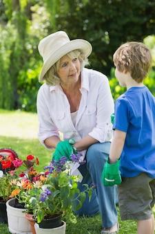 Grand-mère et petit-fils engagés dans le jardinage