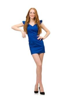 Grand modèle en robe bleue isolée