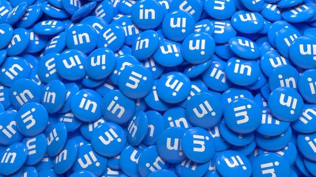 Un grand nombre de pilules brillantes de linkedin en 3d dans une vue rapprochée