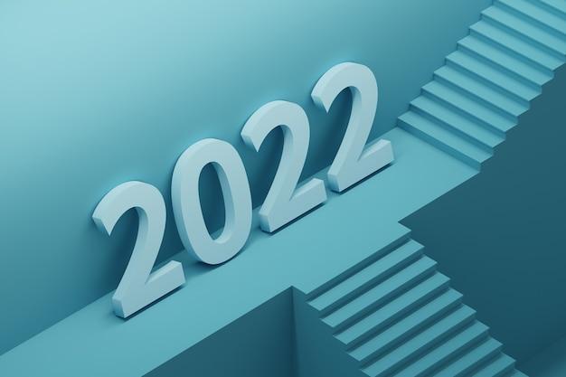 Grand numéro audacieux de l'année 2022 debout sur un piédestal architectural avec des escaliers
