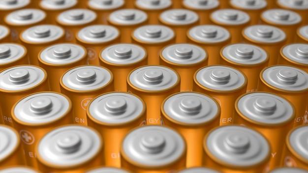 Grand pack de piles dorées proches les unes des autres avec flou artistique. illustration de rendu 3d.