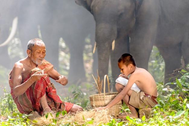 Grand-père et petit-fils était assis dans la forêt dans laquelle travaille le grand-père quant au neveu, lis des livres d'école. alors que les deux élèvent des éléphants