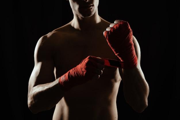 Grand plan, boxeur, bandage, mains