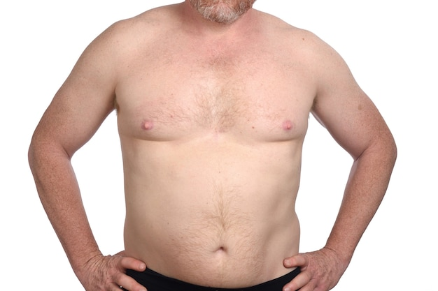 Grand plan, de, homme torse nu, blanc, fond, vue frontale