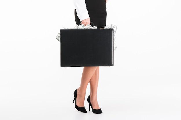Grand plan, portrait, de, a, femme affaires, tenue, serviette