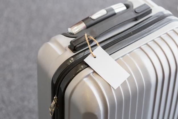 Grand plan, de, vide, étiquette bagage, étiquette, sur, a, valise