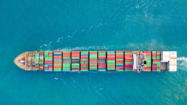 Grand porte-conteneurs en mer - image aérienne