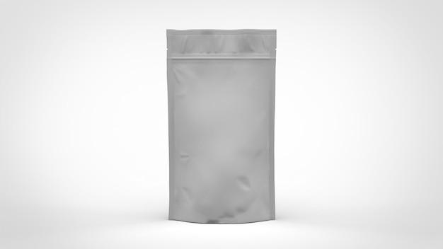 Grand sac à café doy pack blanc avec fermeture éclair