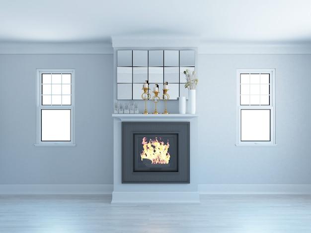 Grand salon gris avec cheminée