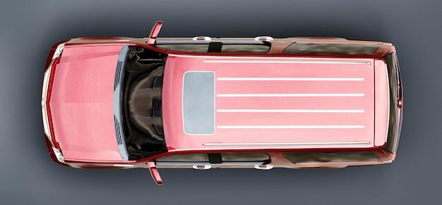 Grand suv premium rouge sur fond gris. rendu 3d.