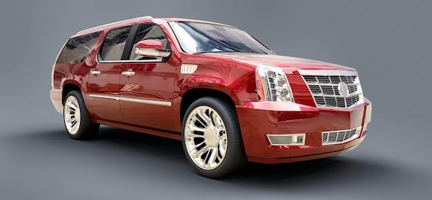 Grand suv premium rouge sur une surface grise