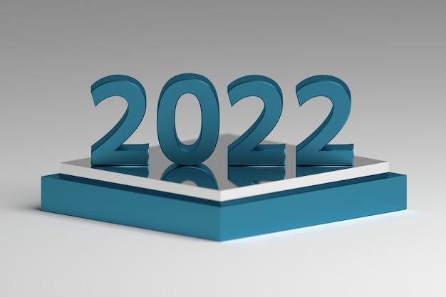 Grand texte de numéro de nouvel an métallique 2022 de couleur bleu brillant sur le piédestal du miroir