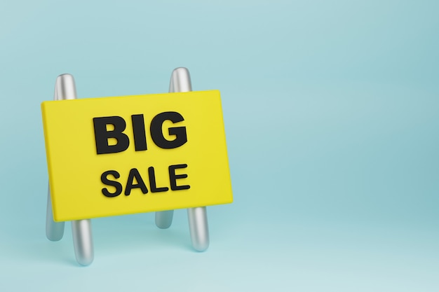 Grand texte d'offre de vente sur une assiette ou une illustration 3d de signe