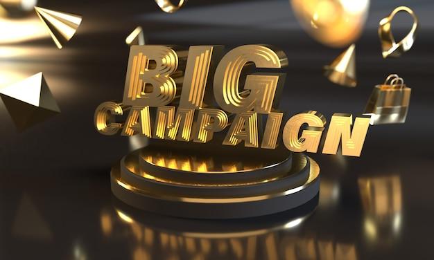 Grande bannière de vente de campagne avec style or
