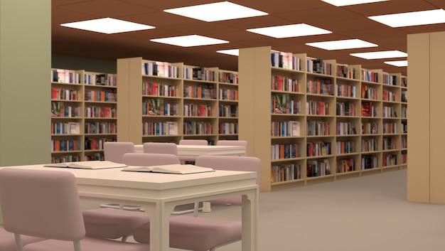 Grande bibliothèque avec table, chaises et étagères.