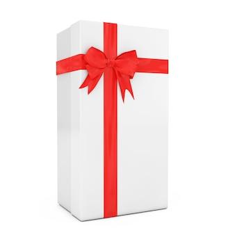 Grande boîte-cadeau blanche avec ruban rouge et noeud sur fond blanc. rendu 3d